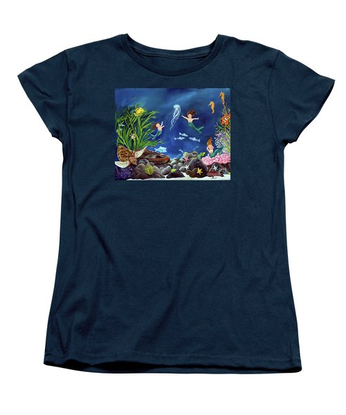 Women's T-Shirt (Standard Cut) featuring the painting Mermaid Recess by Carol Sweetwood