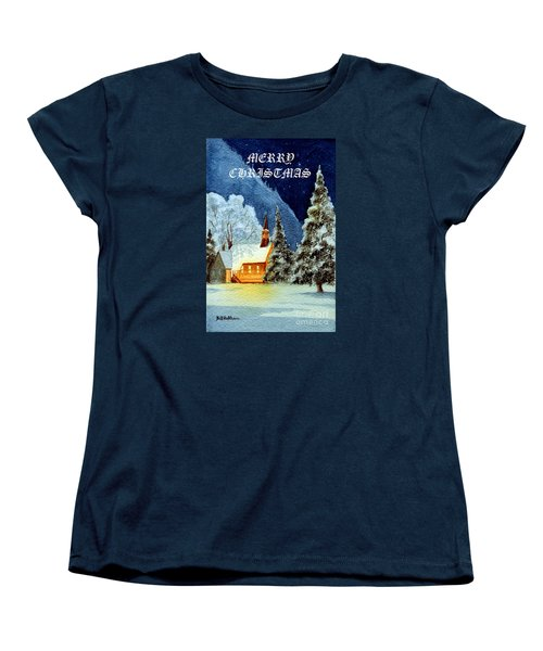 Women's T-Shirt (Standard Cut) featuring the painting Merry Christmas Card Yosemite Valley Chapel by Bill Holkham