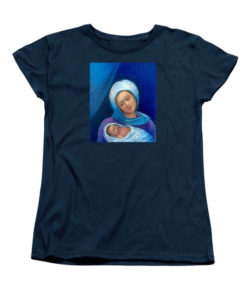 Women's T-Shirt (Standard Cut) featuring the painting Merry Christmas by Laila Awad Jamaleldin