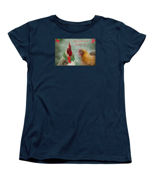 Merry Christmas My Chic-a-dee Women's T-Shirt (Standard Cut) by Donna Brown