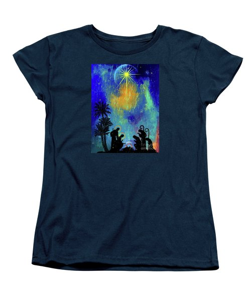 Women's T-Shirt (Standard Cut) featuring the painting  Merry Christmas To All. by Andrzej Szczerski