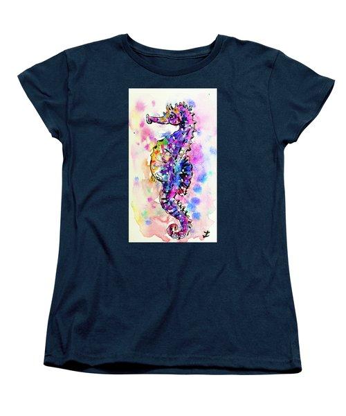Women's T-Shirt (Standard Cut) featuring the painting Merry Seahorse by Zaira Dzhaubaeva