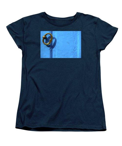 Women's T-Shirt (Standard Cut) featuring the photograph Metal Knob Blue Door by Prakash Ghai