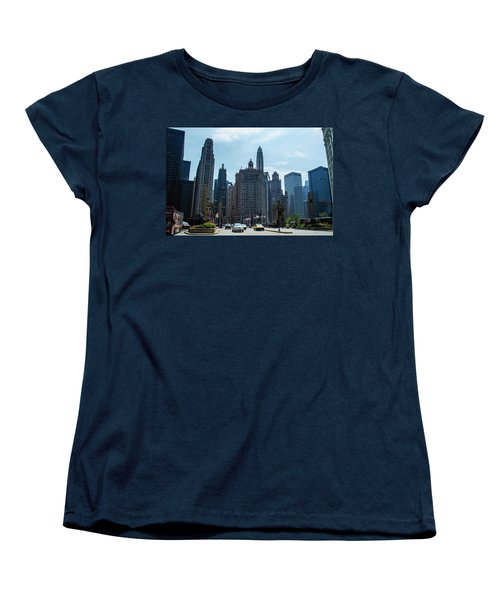 Michigan Avenue Bridge And Skyline Chicago Women's T-Shirt (Standard Cut) by Deborah Smolinske