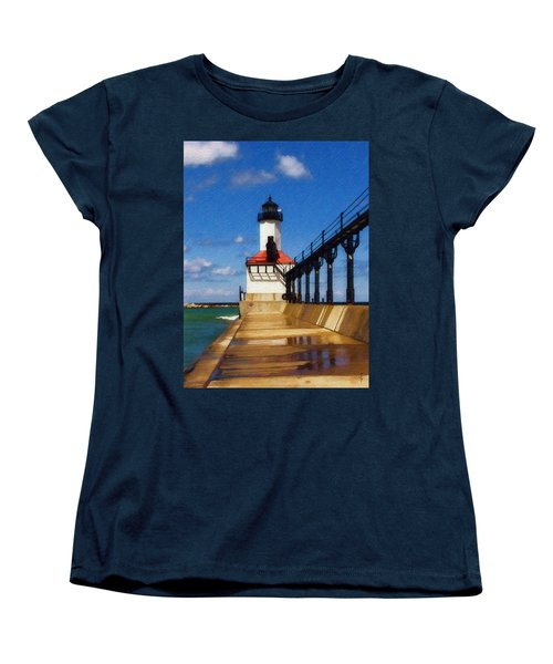Women's T-Shirt (Standard Cut) featuring the photograph Michigan City Light 1 by Sandy MacGowan