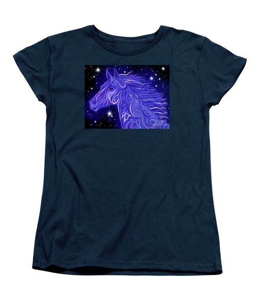 Women's T-Shirt (Standard Cut) featuring the drawing Midnight Blue Mustang by Nick Gustafson