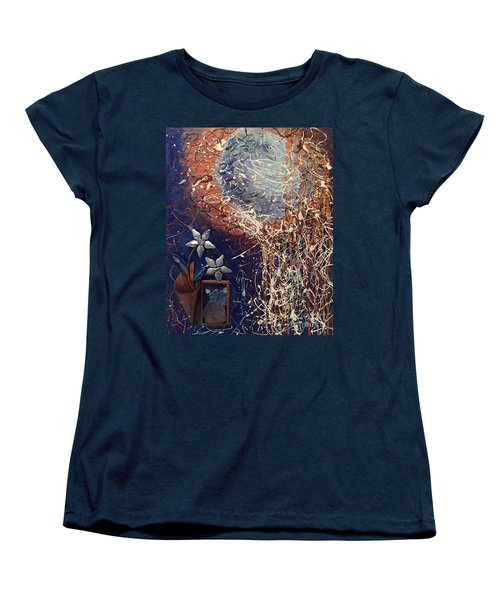Midnight Flowers Women's T-Shirt (Standard Cut) by Gallery Messina