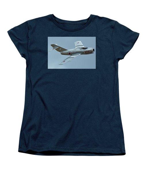 Women's T-Shirt (Standard Cut) featuring the photograph Mikoyan-gurevich Mig-15 Nx87cn Chino California April 30 2016 by Brian Lockett