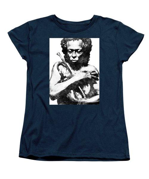Miles Davis Bw  Women's T-Shirt (Standard Cut) by Mihaela Pater