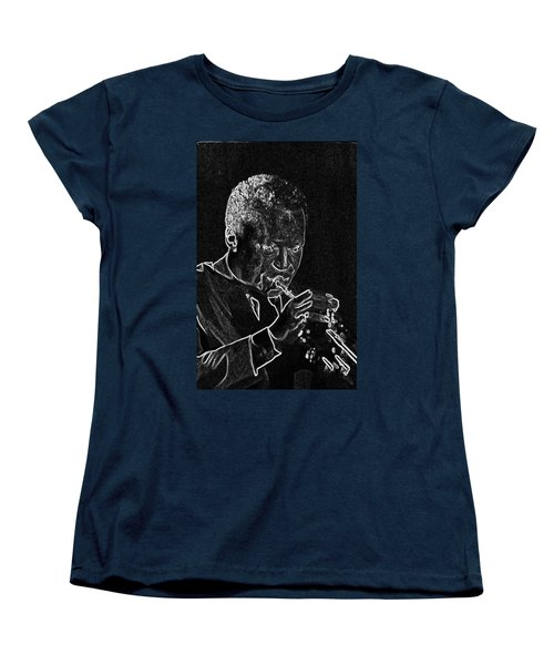 Women's T-Shirt (Standard Cut) featuring the mixed media Miles Davis by Charles Shoup