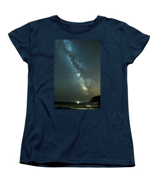 Milky Way Over Clams Flats Women's T-Shirt (Standard Cut) by Patrick Fennell