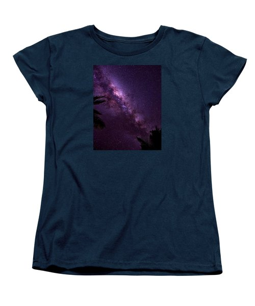 Women's T-Shirt (Standard Cut) featuring the photograph Milky Way Over Mission Beach Vertical by Avian Resources