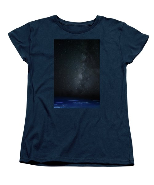 Women's T-Shirt (Standard Cut) featuring the photograph Milky Way Over Poipu Beach by Roger Mullenhour