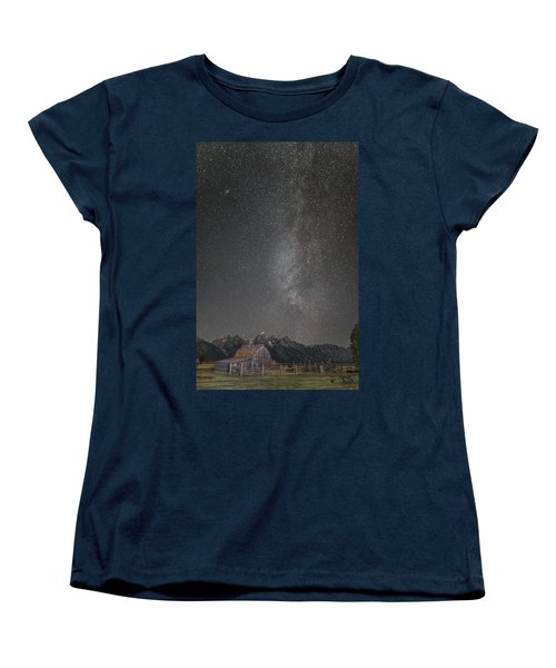 Women's T-Shirt (Standard Cut) featuring the photograph Milkyway Over The John Moulton Barn by Roman Kurywczak
