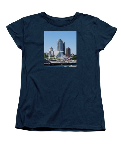 Women's T-Shirt (Standard Cut) featuring the photograph Milwaukee, Wi Shoreline by Ramona Whiteaker