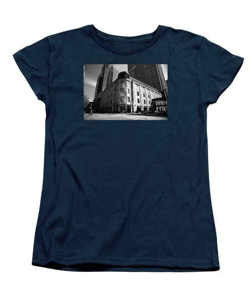 Women's T-Shirt (Standard Cut) featuring the photograph Minneapolis Downtown Bw by Frank Romeo