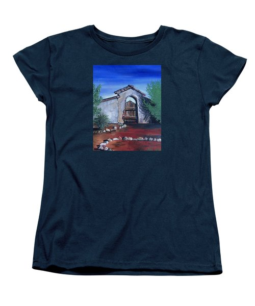 Women's T-Shirt (Standard Cut) featuring the painting Rustic Charm by Mary Ellen Frazee