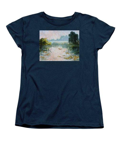 Mist Over Water Lilies Pond Women's T-Shirt (Standard Cut)