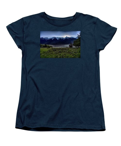 Women's T-Shirt (Standard Cut) featuring the photograph Misty Mountain Morning Meadow  by Darcy Michaelchuk
