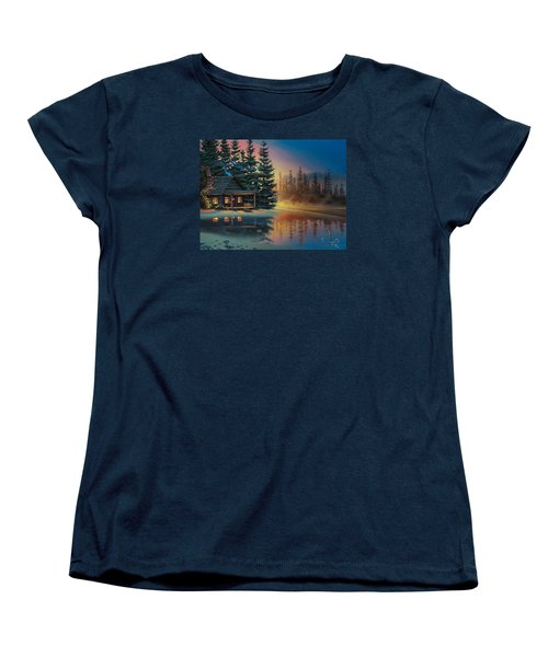 Women's T-Shirt (Standard Cut) featuring the painting Misty Refection by Al Hogue