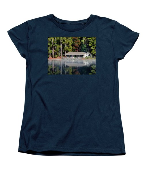 Women's T-Shirt (Standard Cut) featuring the photograph Misty Reflection At Durant by George Randy Bass