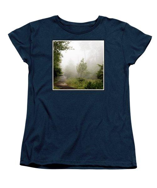 Misty Road At Forest Edge, Pocono Mountains, Pennsylvania Women's T-Shirt (Standard Cut) by A Gurmankin
