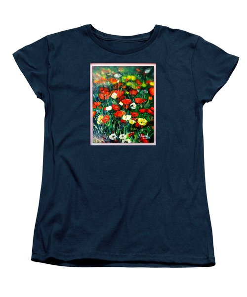 Women's T-Shirt (Standard Cut) featuring the painting Mixed Puppies  by Laila Awad Jamaleldin
