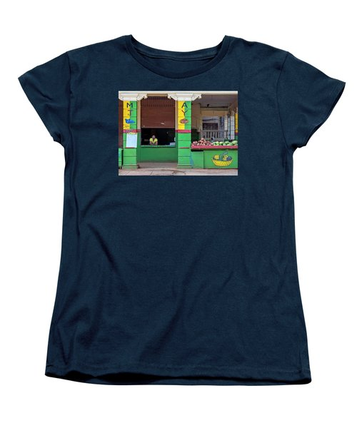 Women's T-Shirt (Standard Cut) featuring the photograph Mjay Fruit Stand Havana Cuba by Charles Harden