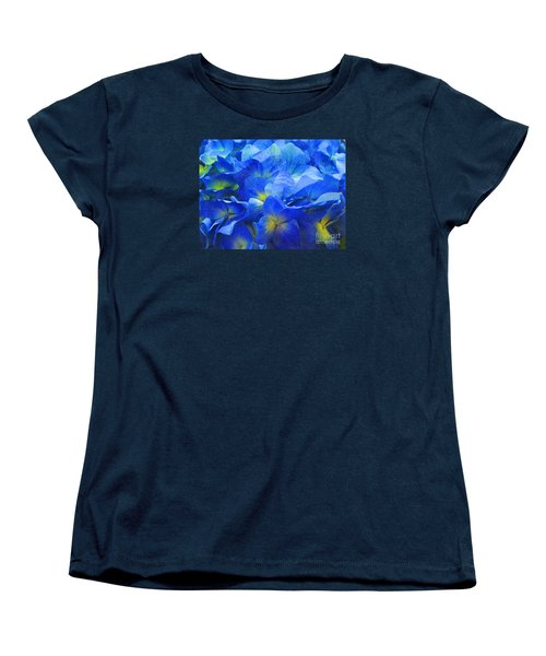 Modern Art - Floral In Blue Women's T-Shirt (Standard Cut) by Merton Allen
