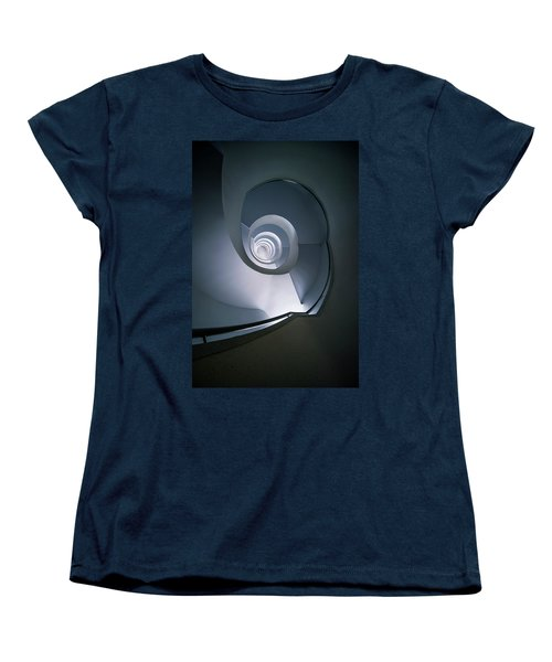 Women's T-Shirt (Standard Cut) featuring the photograph Modern Blue Spiral Staircase by Jaroslaw Blaminsky
