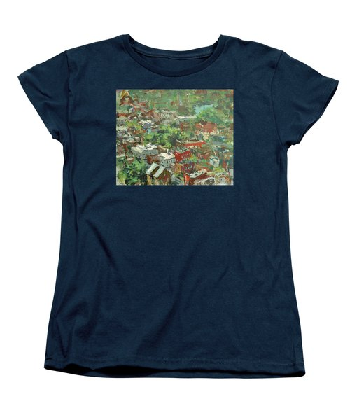 Women's T-Shirt (Standard Cut) featuring the painting Modern Cityscape Painting Featuring Downtown Richmond Virginia by Robert Joyner