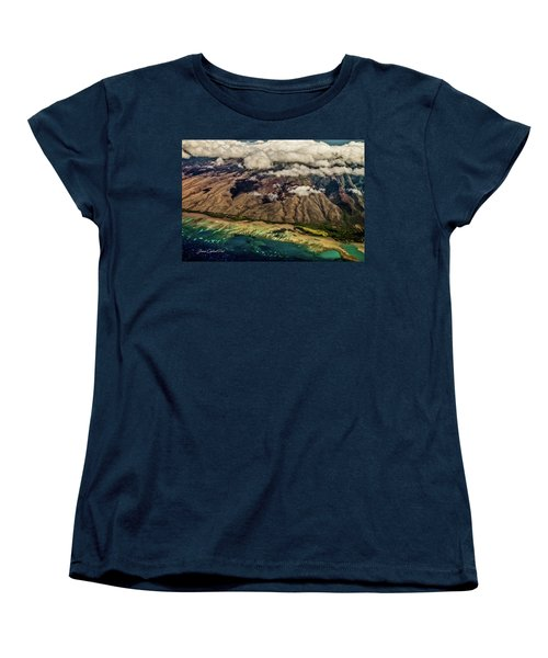 Women's T-Shirt (Standard Cut) featuring the photograph Molokai From The Sky by Joann Copeland-Paul
