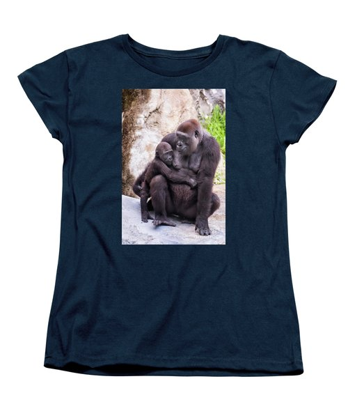Mom And Baby Gorilla Sitting Women's T-Shirt (Standard Cut) by Stephanie Hayes