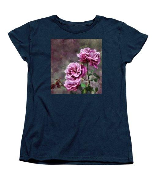 Women's T-Shirt (Standard Cut) featuring the digital art Moms Roses by Susan Kinney