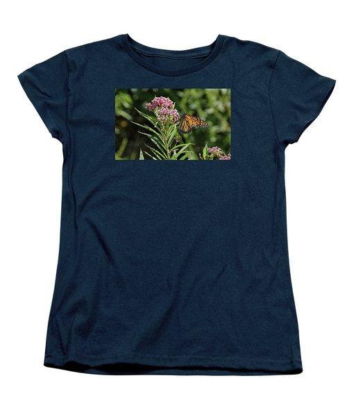 Women's T-Shirt (Standard Cut) featuring the photograph Monarch On Milkweed by Sandy Keeton