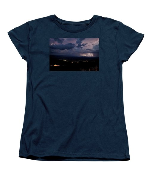 Women's T-Shirt (Standard Cut) featuring the photograph Monsoon Lightning Over Sedona From Jerome Az by Ron Chilston