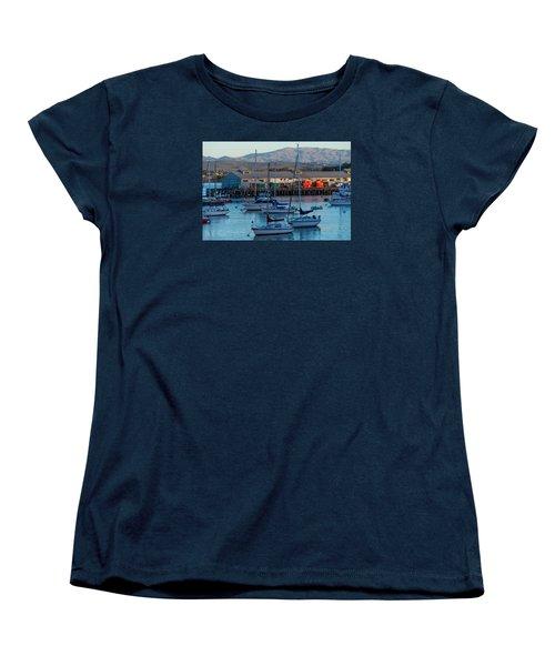 Monterey Wharf At Sunset Women's T-Shirt (Standard Cut) by Derek Dean
