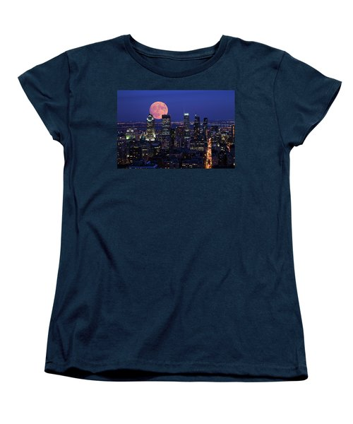 Women's T-Shirt (Standard Cut) featuring the photograph Montreal Supermoon by Mircea Costina Photography
