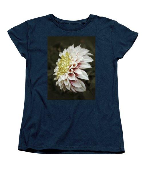 Women's T-Shirt (Standard Cut) featuring the photograph Moody Dahlia  by Karen Stahlros