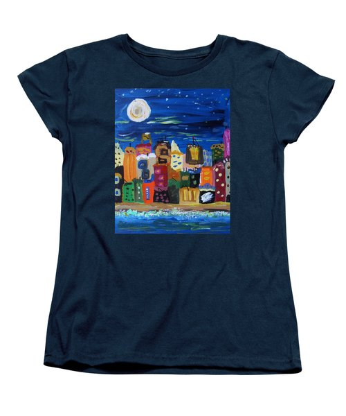 Moon And Sea Waves Women's T-Shirt (Standard Cut) by Mary Carol Williams