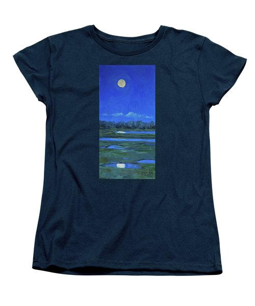 Women's T-Shirt (Standard Cut) featuring the painting Moon Light And Mud Puddles by Billie Colson