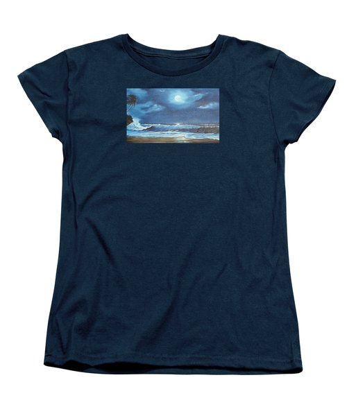 Moon Light Night In Paradise Women's T-Shirt (Standard Cut) by Lloyd Dobson