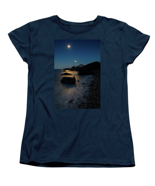 Women's T-Shirt (Standard Cut) featuring the photograph Moon Light Over The Lighthouse  by Emmanuel Panagiotakis