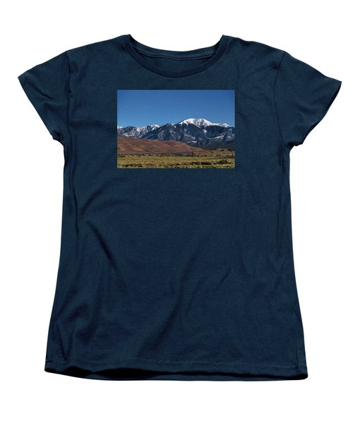 Moon Lit Colorado Great Sand Dunes Starry Night  Women's T-Shirt (Standard Cut) by James BO Insogna