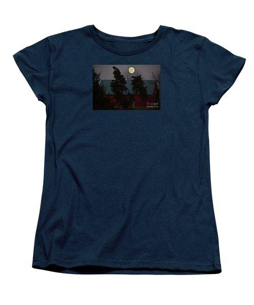 Moon Over A Kansas Barn Women's T-Shirt (Standard Cut) by Mark McReynolds