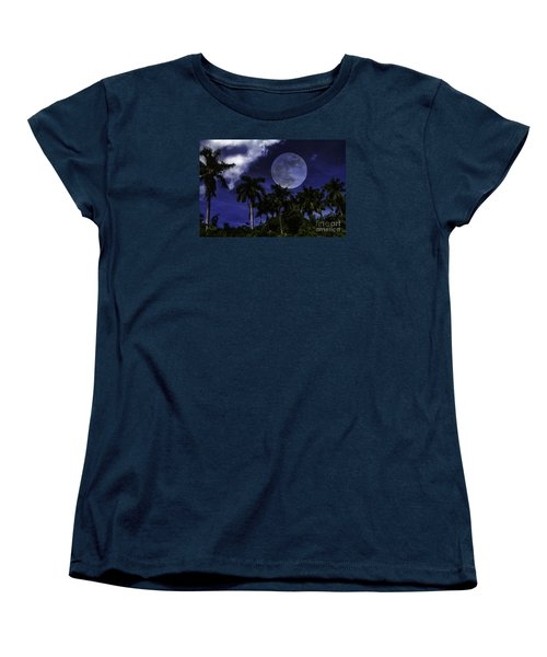 Women's T-Shirt (Standard Cut) featuring the photograph Moon Over Belize by Ken Frischkorn