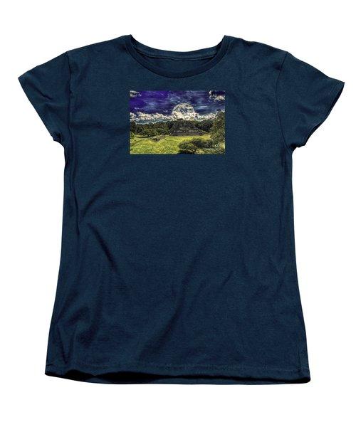 Women's T-Shirt (Standard Cut) featuring the photograph Moon Over Mayan Temple Two by Ken Frischkorn