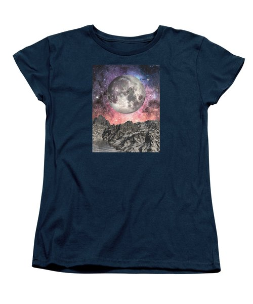 Women's T-Shirt (Standard Cut) featuring the digital art Moon Over Mountain Lake by Phil Perkins
