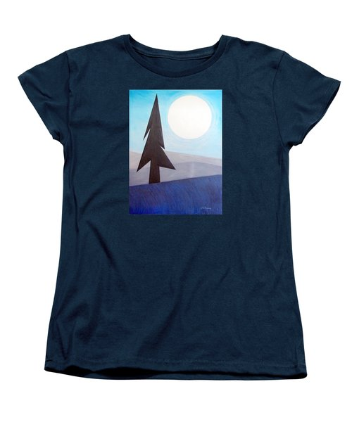 Women's T-Shirt (Standard Cut) featuring the painting Moon Rings by J R Seymour