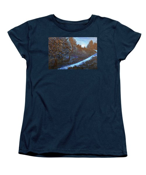 Women's T-Shirt (Standard Cut) featuring the mixed media Moon Rise  by Angela Stout